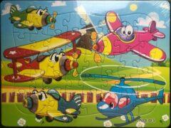 Stemen Kinderpuzzel vliegtuig 28 cm x 21 cm