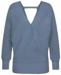 Blauwe LASCANA Gebreide trui, van modieus ribtricot