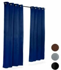 Marineblauwe Relaxdays - verduisteringsgordijnen met metalen ringen - gordijn - 2 stuks effen