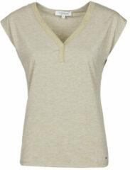 Zandkleurige morgan t shirt met glitters zand