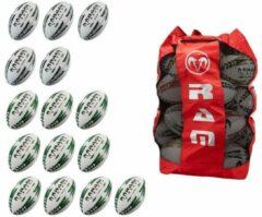 RAM Rugtby Match & Pro Training rugbyballen bundel - Met ballentas - 15 stuks Balmaat 5 Groen