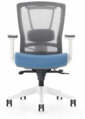 Bureaustoel luxe Kangaro netstof. Multi verstelbaar grijs/blauw