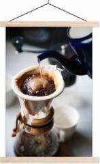 TextilePosters Filterkoffie wordt gezet op een ouderwetse wijze schoolplaat platte latten blank 40x60 cm - Foto print op textielposter (wanddecoratie woonkamer/slaapkamer)
