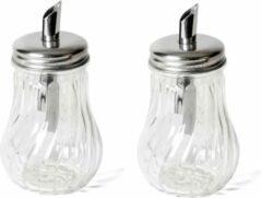 Transparante Orange85 Suikerstrooier met Schenktuit - 2 Stuks - Glas - Suiker dispenser - Retro suikerstrooier - Doseren van suiker - Koffie en Thee