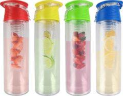 FIGURETTA familie-set | 4x waterfles met infuser |inhoud 0.7 ltr | BPA-vrij | groen geel blauw rood