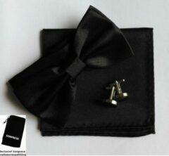 Luxe vlinderstrik inclusief pochette en manchetknopen - Zwart - Sorprese - luxe - vlinderdas - strik - strikje - pochet - heren