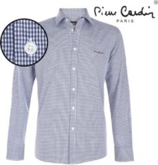 Blauwe Pierre Cardin heren overhemd stretch gingham