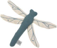 Blauwe Lässig gebreid speeltje en knuffel met rammelaar knetter Garden Explorer Dragonfly blue