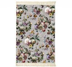 Licht-grijze Essenza Fleur vloerkleed met bloemenprint 60 x 90 cm