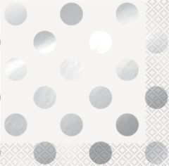 Haza Original Servetten Dots 33 X 33 Cm Papier Wit/ Zilver 16 Stuks