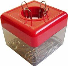 Rode SDI - Paperclip dispensers - 50x50x45mm - Inclusief 100 paperclips! - Assortie kleuren - 1 stuk