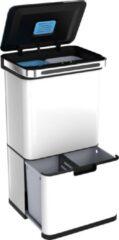 StangVollby Halden Prullenbak met Sensor - 60 L - Afvalscheiding Vuilbak - RVS - 4 vakken - Automatisch Lucht Filter - 60 liter (2×18L + 2×12L) - Automatische Soft Close deksel met Infrarood Sensor - 4 vaks Afvalemmer - Bacterie Filter - Wit