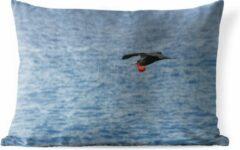 PillowMonkey Sierkussen Grote fregatvogel voor buiten - Een grote fregatvogel vliegt boven zee - 50x30 cm - rechthoekig weerbestendig tuinkussen / tuinmeubelkussen van polyester