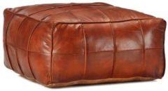 Bruine 5 days Poef 60x60x30 cm echt geitenleer tan