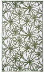 Donkergroene Esschert design Tuintapijt Floraal - Bloemenmotief - Groen/Wit - 240x150cm