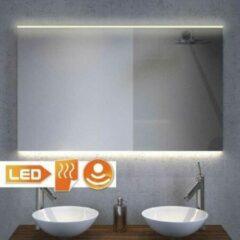 Grijze Designspiegels.nl Badkamerspiegel met LED verlichting, verwarming, sensor en dimfunctie 90x70 cm