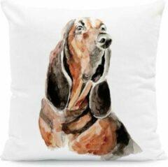Bruine Moodadventures Kussenhoes Basset | Kussentje Hond 45x45 cm