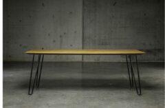 Zwarte Rustiek eiken honing tafelblad met metalen potenset 180 x 90 x 76 - Seuren Tafels Bud Get 1
