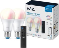 WiZ Connected Lamp 2-pack met Afstandsbediening - Slimme LED-Verlichting - Gekleurd en Wit Licht - E27 - 60 W - Mat - Wi-Fi