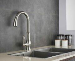 SelectGoodz Keukenkraan – Nikkel – mengkraan – klassiek design kraan – uittrekbare uitloop