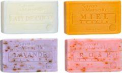 Le Chatelard 1802 Marseille zeep 4 x 100 gram in geuren kokosmelk-honing-lavendel-roos