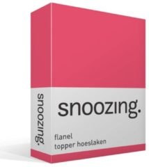 Snoozing flanel topper hoeslaken - 100% geruwde flanel-katoen - 1-persoons (80/90x200 cm) - Fuchsia