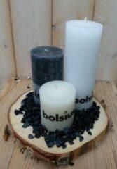 Bolsius 3-delige set kaarsen zwart, sneeuwwit en cremewit, grindkleur: zwart, dia. circa 30 cm