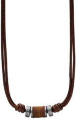 Fossil JF00899797 Ketting Vintage Casual staal/leder 45-50 cm