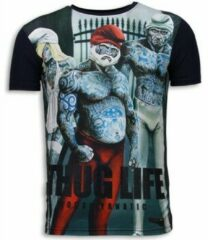 Blauwe Local Fanatic Thug Life - Digital Rhinestone T-shirt - Navy Thug Life - Digital Rhinestone T-shirt - Navy Heren T-shirt Maat XL