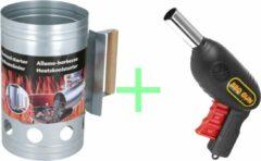 Discountershop Houtskoolstarter met Barbecue starter gun - Metaal - 17x27.5cm