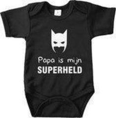 Merkloos / Sans marque Baby Rompertje Mijn papa is een superheld, Bedrukte baby romper, Wit korte mouw, maat 74