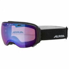 Zwarte Alpina Big Horn QVM Skibril | 2019 | Black Matt | Photochromic | Blue Mirror | Categorie 2