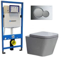 Douche Concurrent Geberit UP 320 Toiletset - Inbouw WC Hangtoilet Wandcloset - Alexandria Sigma-01 Chroom/Mat Chroom