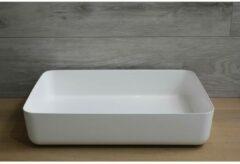 Waskom Opbouw Rechthoekig Luca Sanitair 60x40x13,5 cm Mineraalsteen Glans Wit