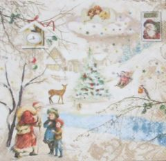 Beige Ambiente Servetten Winter Wonderland