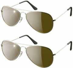 Eagle Eyes Aviator glasses, set van 2 – zilver – piloten zonnenbril