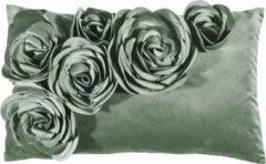 Pad sierkussenhoes met bloemen applicatie Floral mint - 30x50 cm