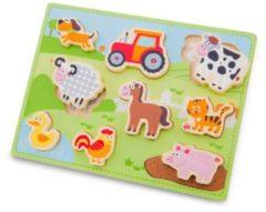 New Classic Toys Chunky op de boerderij houten vormenpuzzel 9 stukjes