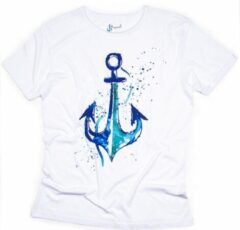 BiggDesign BiggDesign-AnemoSS- T Shirt-Anchor Man's -Wit-Maat M AnemosS Heren