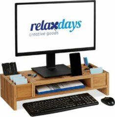 Bruine Relaxdays Monitorstandaard - monitorverhoger - beeldschermverhoger - bamboe - organizer