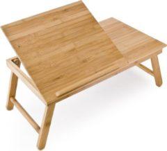 Naturelkleurige Relaxdays laptoptafel voor op schoot + la - Tafel laptop bamboe hout, tafeltje
