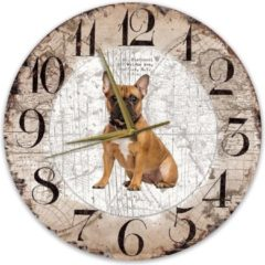 Bruine Creatief Art Houten Klok - 30cm - Hond - Bulldog