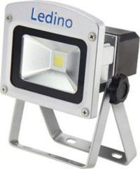 Ledino 10 W LED-Flutlichtstrahler mit Li-Ionen Akku 2.2 Ah, dimmbar, silber