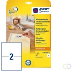 Zweckform Etiket Avery L4734REV-25 199.3x143.5mm afneembaar wit 50stuk