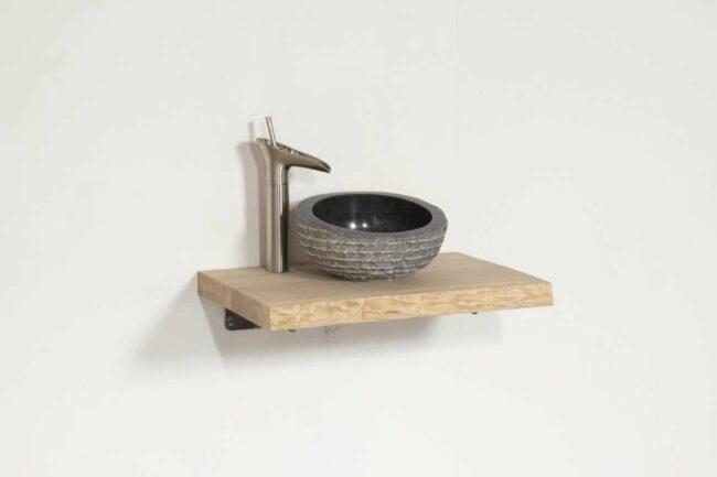 Afbeelding van Bruine Teakea Wastafel Kreta RVS | Complete Set | 40x40x4 | pure