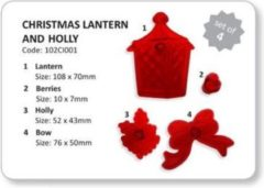 Rode JEM Cutters JEM Christmas Lantern & Holly Set/4|Kerstlantaarn, Hulst en besjes
