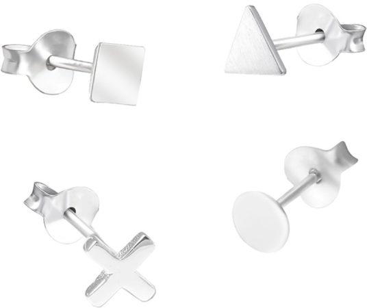 Afbeelding van CO88 Collection Sense 8CE 70033 Stalen Oorknoppen - Kruis, Driehoek, Rond en Vierkant 7 mm - Zilverkleurig