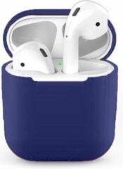 Donkerblauwe Teishop Siliconen case geschikt voor Apple Airpods - Donker Blauw