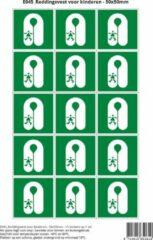 Groene Stickerkoning Pictogram sticker E045 Reddingsvest voor kinderen - 50x50mm 15 stickers op 1 vel