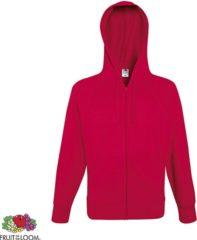 Rode Fruit of the Loom hoodie vest met rits lichtgewicht Maat L Kleur Red